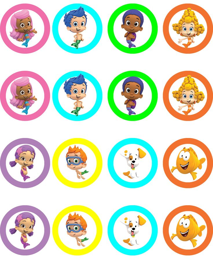 Bubble Guppies printables PAGE 1. can be used as stickers, table decor, cake toppers, cup/plate decor, decals etc. (Standard U.S. sized paper) Save JPEG and print on desired paper *includes* 7 inch 5 inch 2 inch (Message me for customized printables)