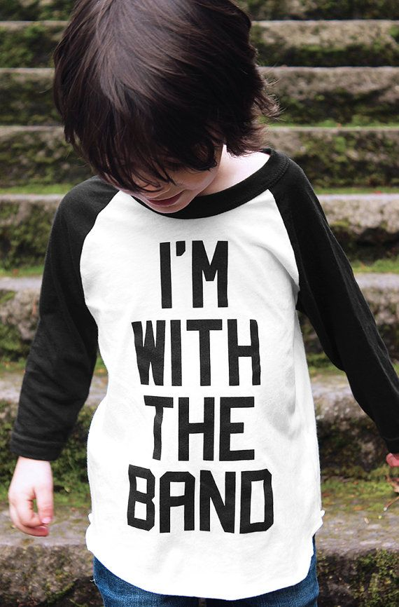 I'm With The Band Raglan Shirt by Hatch For Kids - Children's Clothing 3/4 Sleeve Baseball Tee T-Shirt Punk Rock Rap Hip Hop Music - 2t 4t 6