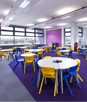 Abby Chandler, Marketing Manager of Heckmondwike FB, looks at the rising popularity of zoning in education environments and the impact it is having on the choice of floor coverings.: Floors Covers, Projects Ghs Primary Schools, Projectsghsprimari Schools, Colour Schools, Carpets, Swirls, High Schools