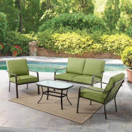 Buy Mainstays Stanton Cushioned 4 Piece Patio Conversation Set, Green At