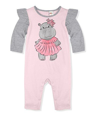 9be2737d5 Love this Light Pink & Gray Heather Missy Hippo Angel-Sleeve Playsuit -  Infant & Toddler on #zulily! #zulilyfinds