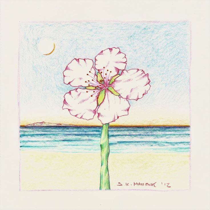 Milionis - Original Signed Colored Drawing FLOWER on paper 2012 #Modernism
