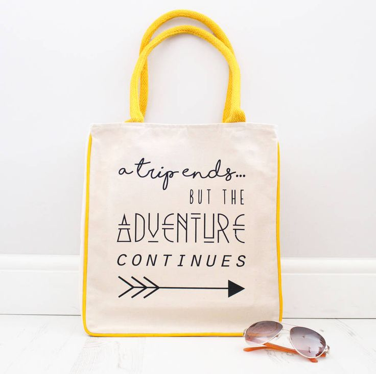 'a trip ends....but the adventure continues' canvas tote bag.High quality Fairtrade canvas tote bag...perfect for spring/summer 2016! The main compartment can be zipped up to keep all your things safe and also has an internal pocket for valuable items, such as phone and jewellery. Strap is the perfect length, and can be carried by hand or over the shoulder. Makes a great beach bag, travel bag or shopper.100% Fairtrade cotton canvas.Bag measures aprox 33 x 39 x 13cm…