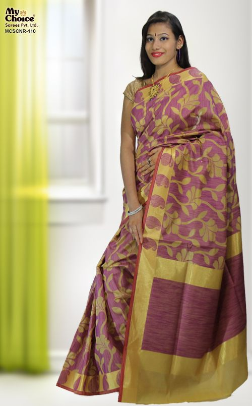 CREAM LAVENDER COLOR CHANDERI SILK SAREE