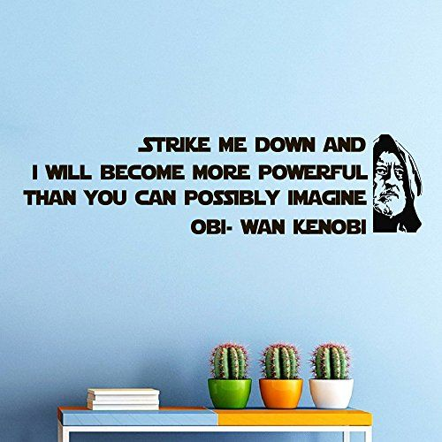 Wall decals obi wan kenobi star wars quote decal strike me down sayings sticker vinyl decals wall decor murals by wisdomdecals on etsy