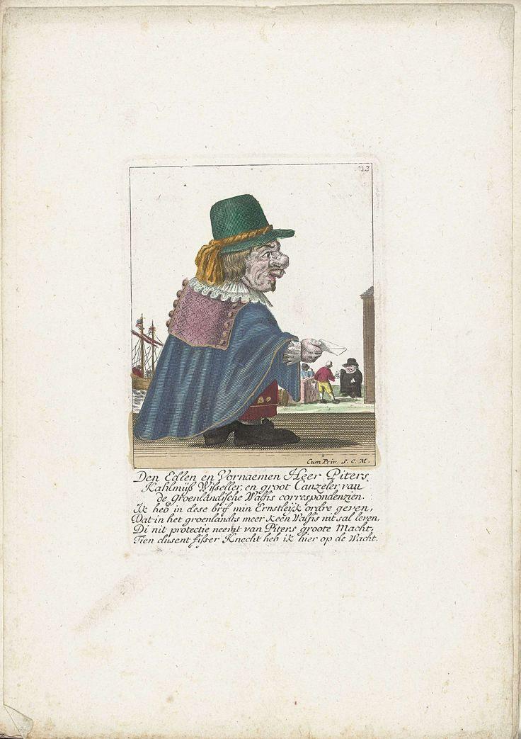 unknown | De dwerg Piters Kahlmüß Wisseller als walvisvaarder, ca. 1710, unknown, 1705 - 1715 | De dwerg Piters Kahlmüß Wisseller als (Nederlandse?) walvisvaarder in Groenland. In het onderschrift onder de titel een vierregelig vers in het Nederlands. Genummerd rechtsboven: 13. Onderdeel van een losbladige uitgave uit ca. 1710 van een serie karikaturen met dwergen, bekend als Het Dwergentooneel.