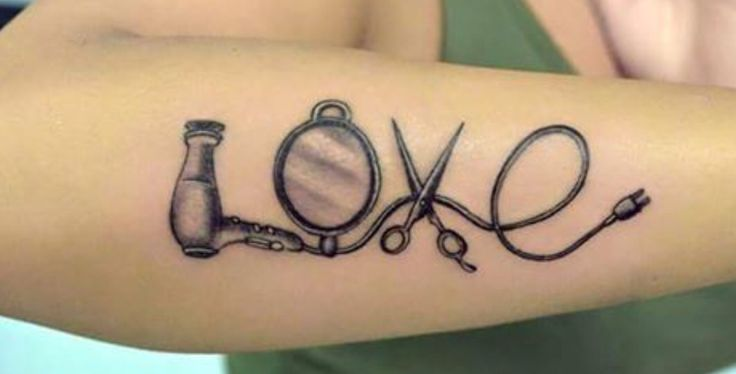 Hairstylist Tattoo// Love Tattoo For Hairstylist// Tattoo Ideas// Forearm Tattoo// Scissor Tattoo// Blow dryer Tattoo// Mirror Tattoo
