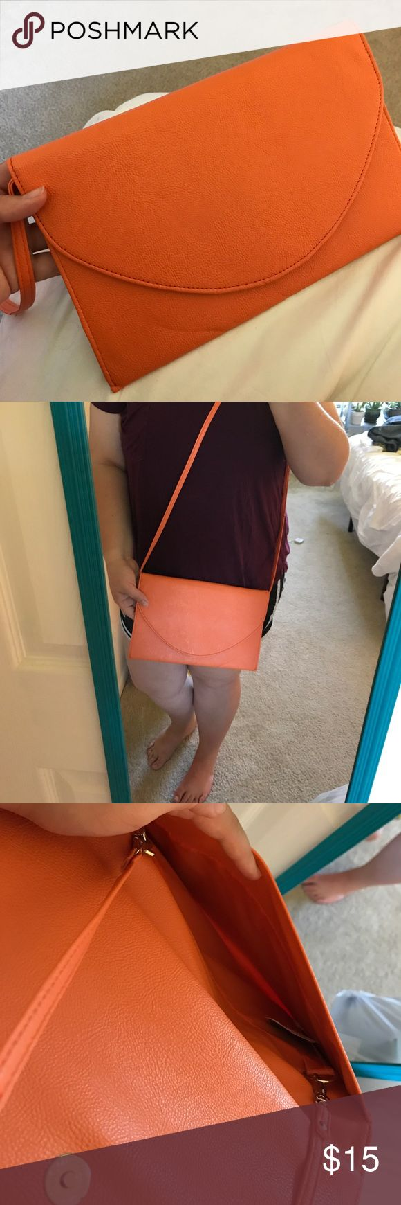 NWT - Orange clutch - detachable strap Would be so cute for a gameday!!! Clemson, Auburn - especially monogrammed. Strap can be detached. No pockets inside Bags Clutches & Wristlets