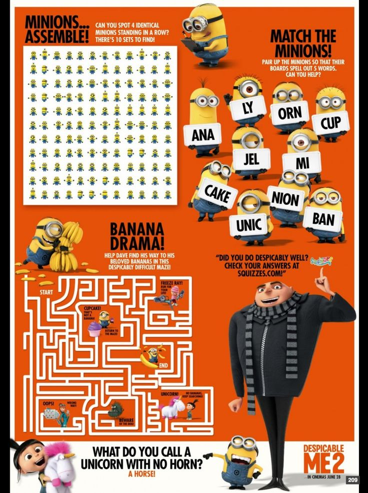 despicable me activity sheet for the movie