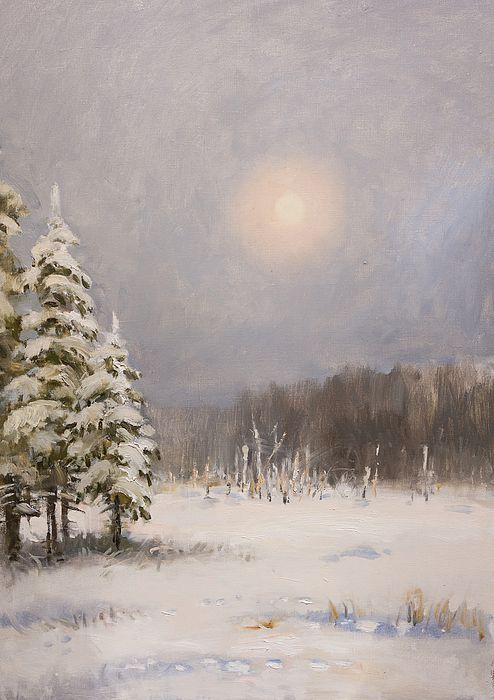 WINTER STILLNESS by VALENTINA KONDRASHOVA.   Belongs to the Galery RUSSIAN ARTISTS NEW WAVE.  Peaceful winter scene in Russian countryside with delicate pastel color palette. Bringing the feel of serenity and tranquility.. #RussianArtistsNewWave #ValentinaKondrashova #Painting #PaintingForSale #Art #ArtForSale #OriginalPainting #Winter #Xmas #Christmas #ArtForHome