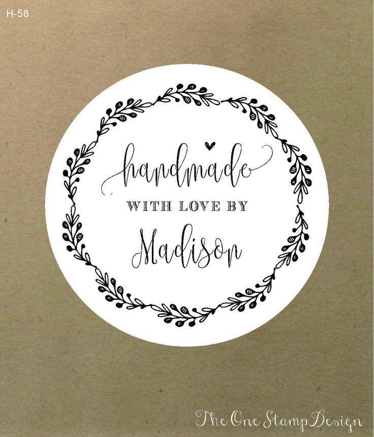 Customt rubber stamp handmade bymade with love custom