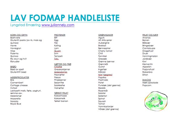 Lav FODMAP handleliste på norsk - av Lyngstad Ernæring