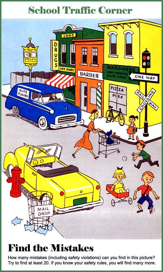 """This is a good image that can be used to find out how much children are aware of safety rules. I'd suggest to use this picture for circle time discussions or small group activity where children in groups can play the game """"what's wrong with this picture?"""" and indirectly be more aware of the safety rules on the road."""