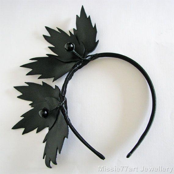 Black Fascinator Berries Leaves Leather Crown Races Headpiece Burlesque Headband