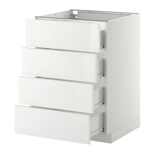 METOD / FÖRVARA Élt bas 4 faces/4 tiroirs - blanc, 60x60 cm, Ringhult brillant blanc - IKEA