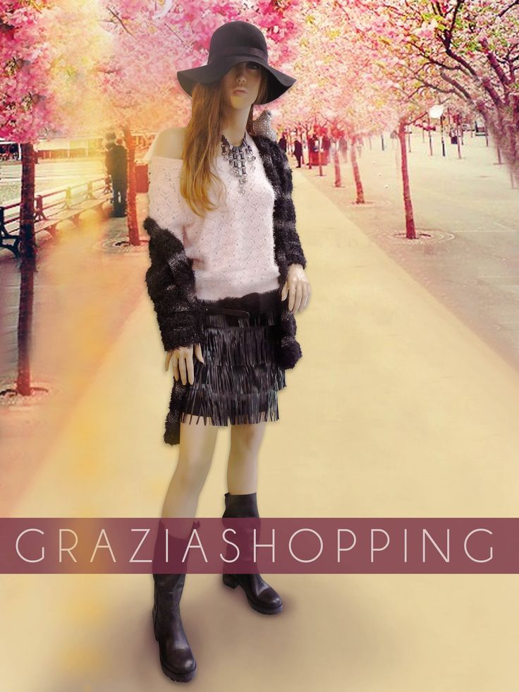 lookoftheday jupe noire simili cuir franges pull cocooning vilaclothes rose poudr