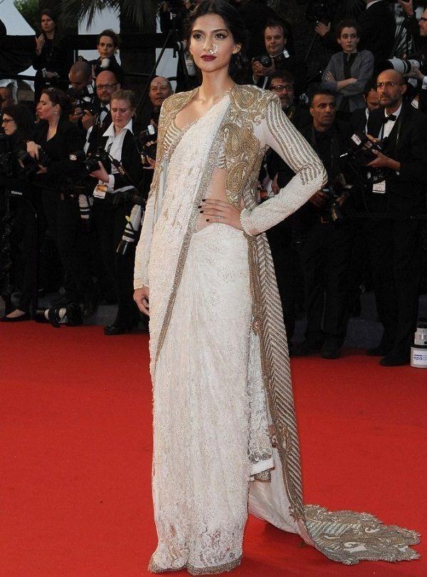 Sonam Kapoor is Layering up the Saree with Jacket designed by Anamika Khanna