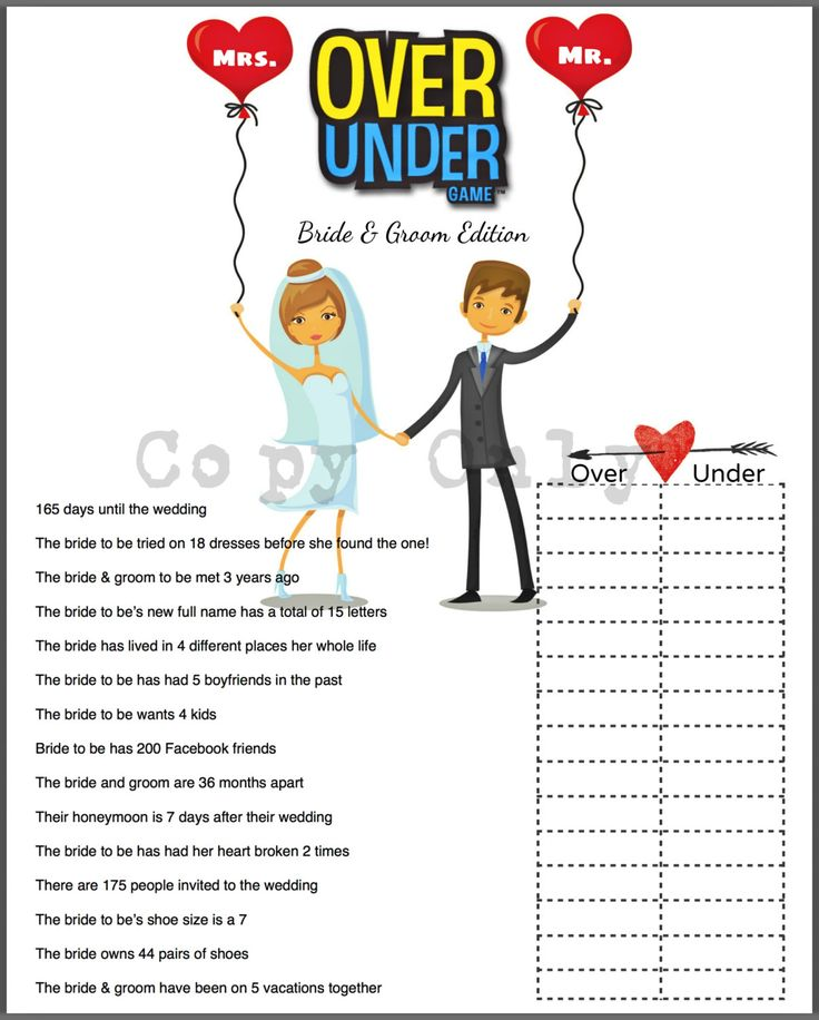 Bridal Shower Game Over or Under Bride Trivia by 31Flavorsofdesign