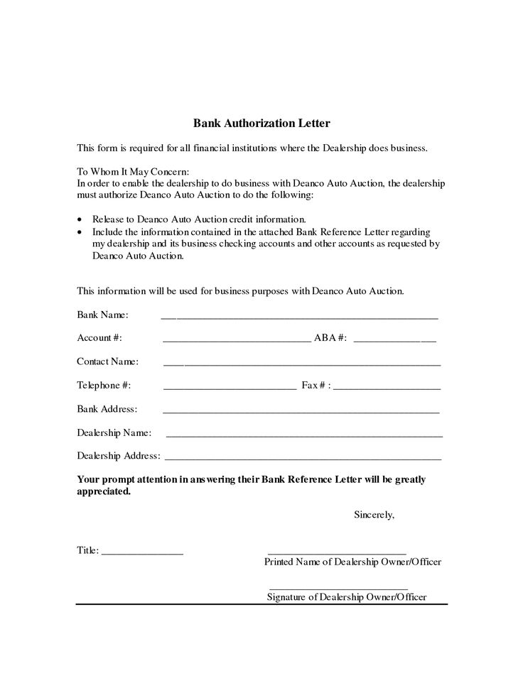 Authorization Letter For Bank Writing A Bank
