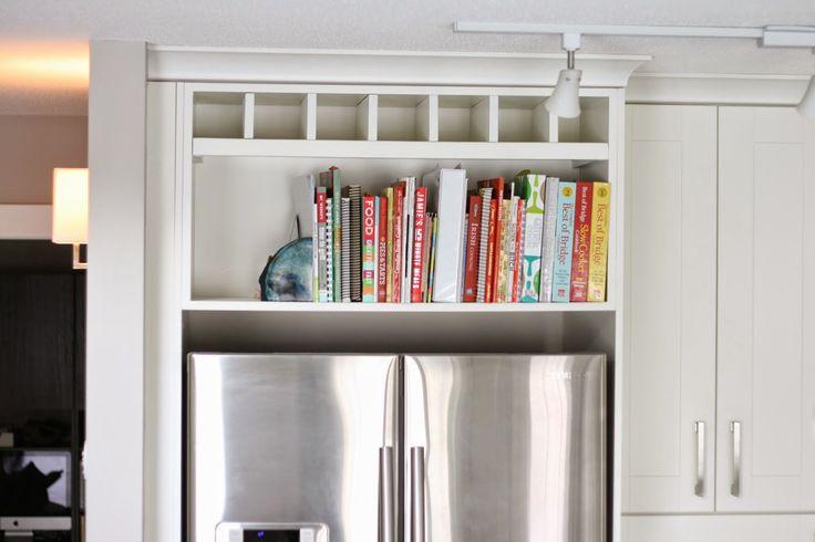 Above The Fridge Cookbook Shelf (and wine storage)