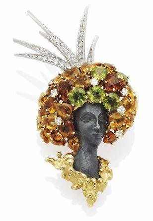 brooch by Pierre Sterlé, 1960 - peridot, citrine, diamonds and carved hematite