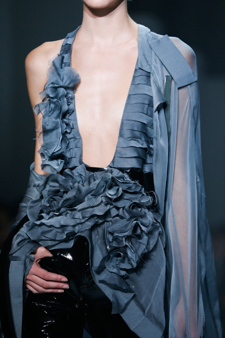 Sculptural Fashion // blue sheer blouse and black pants // Haider Ackermann Spring 2015 Ready-to-Wear