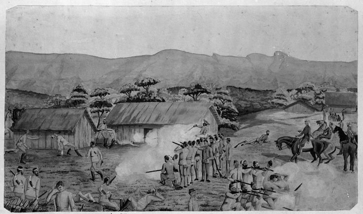 A sketch of the fight at Rangiawhia (now Rangiaohia) by J A Wilson showing the engagement for the recovery of McHale's body. Various forces and soldiers named including McDonnell, Colonel Nixon, Wilson, Alexander, Dunn and General Cameron and staff.  'Sir George Grey Special Collections, Auckland Libraries, 1-W475'