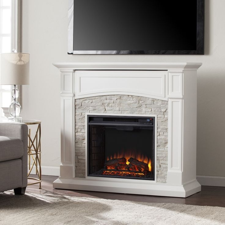 Boston Loft Furnishings 45.75-in W Crisp White LED Electric Fireplace with Thermostat and Remote Control