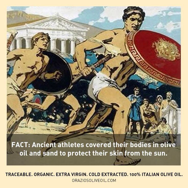 Friday's Fact: Ancient athletes covered their bodies in olive oil and sand to protect their skin from the sun. #oliveoil #oliveoilfacts #evoo #ancientgreece