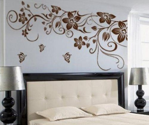 TRURENDI Large Flower Butterfly Removable PVC Wall Sticker Home Decor Art  Decal, Http:/