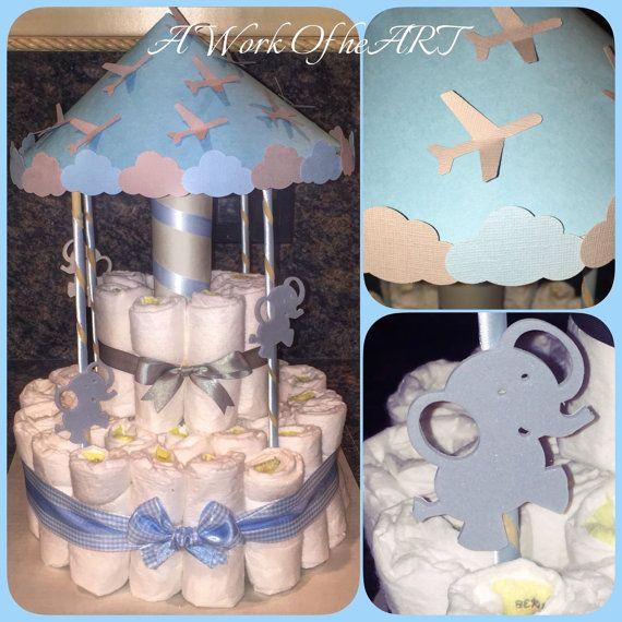 2 Tier Carousel Diaper Cake di AngelasWorkOfheART su Etsy