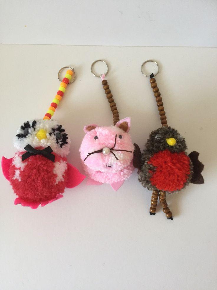 Set of 3 animal bag charms, keyrings, keychain charms #pompoms #keychains #bagcharms #backpackcharms #keyrings #etsy #etsyshop #etsyseller #shoponline #onlineshopping #birds #pompomcharms #gift #giftforher #readytoship #pompomkeyrings #pompombagcharms #pompomgift #fungift #Family1stCreations