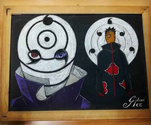 Tobi & Obito #narutoshippuden  #drawing @gianniice   Realized with @stabilo CarbOthello on blackboard  #stabilo #carbothello #crayon #charcoal #manga #anime #japan #naruto