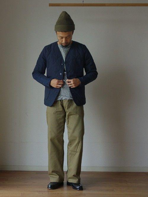 Ordinary fitsのノーカラージャケット「Ordinary fits オーディナリーフィッツ OM-T036 ENGINEER JACKET QUILTING エンジニアジャケット キルティング NAVY ネイビー」を使ったcomoda上西猛夫(comoda)のコーディネートです。WEARはモデル・俳優・ショップスタッフなどの着こなしをチェックできるファッションコーディネートサイトです。