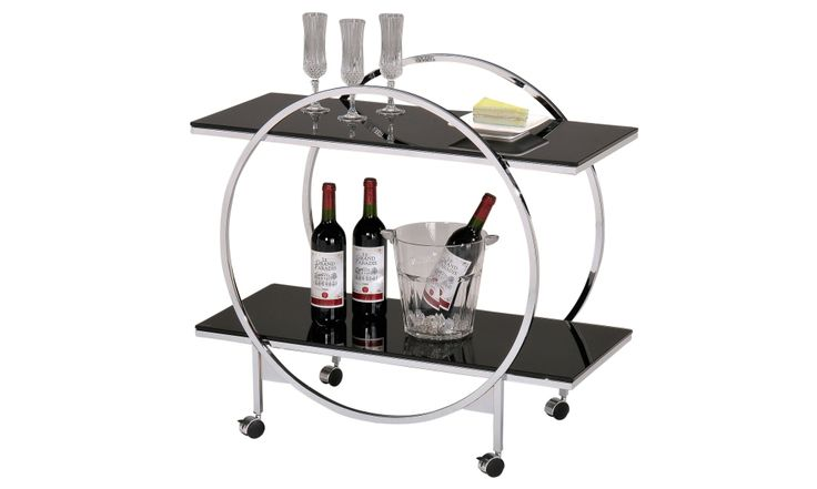 This stylish trolley cart has 2 tiers that offer plenty of room for serving. Sleek modern design with a contemporary chrome frame and black tempered glass. 4 caster wheels for easy rolling that also lock for stability. Can be used for serving tea, food or wine. http://inspireathome.com