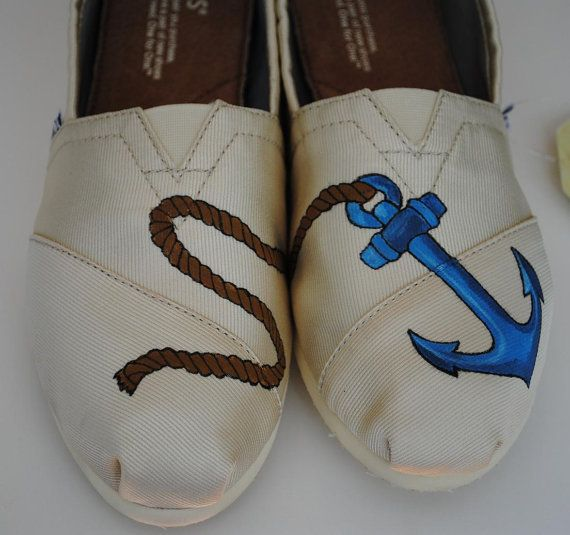 Holy Hands Painting Tom, Fashion, Tom Tom, Style, Nautical Shoes Men, Tom Shoes, Anchors Design, Hand Painted Toms, Anchors Tom