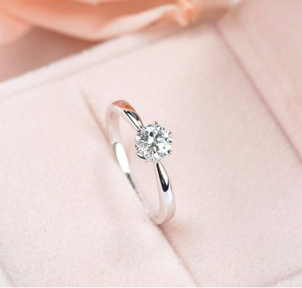 Six Prong Pave Moissanite and Diamond Engagement Ring , Bridal Ring,Diamond Alternative engagement ring
