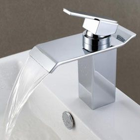 Contemporary Waterfall Bathroom Sink Tap - Chrome Finish T6001