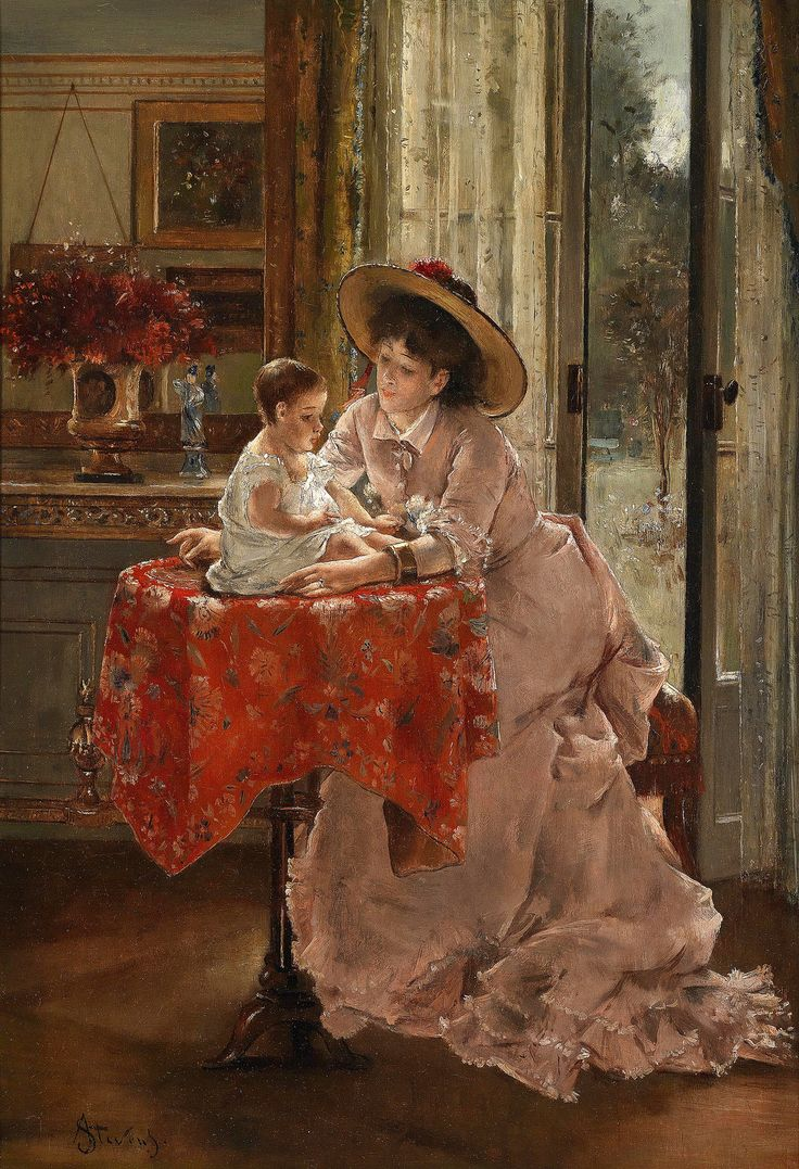 Details about hassam garden painting ceramic bathroom tile murals 2 - The Happy Mother By Alfred Stevens 1823 1906