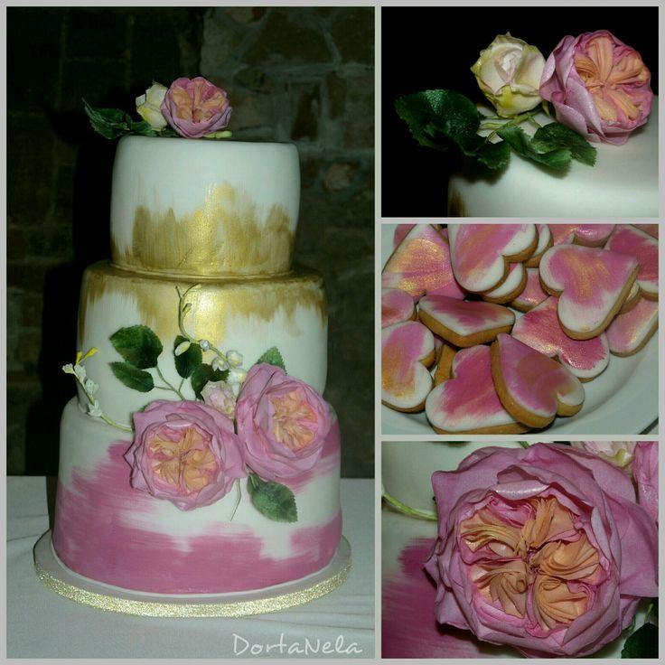 WEDDING CAKE WITH FLOWERS FROM EDIBLE PAPER (Svatební dort s květinami z jedlého papíru)