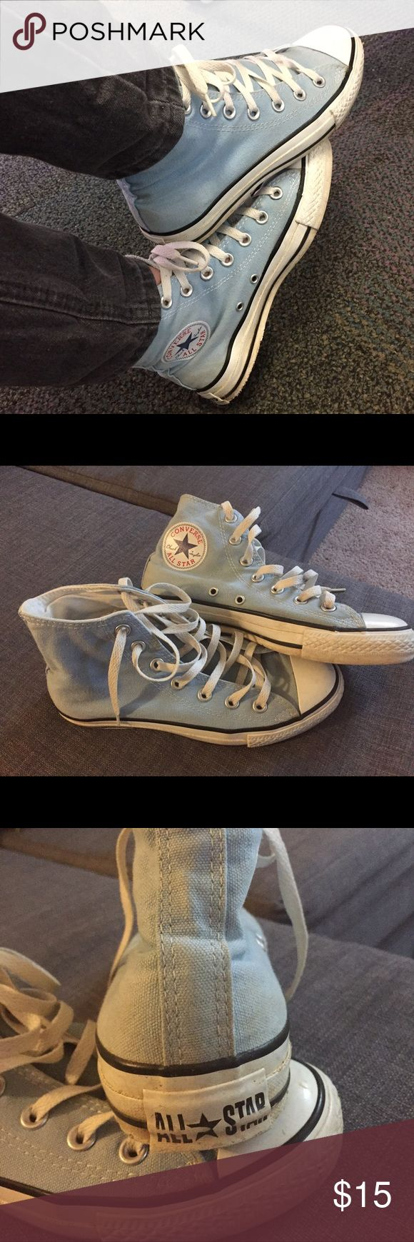 Hi top sky blue converse These converse are well worn and could use a wash but still have a lot of wear left in them. Light blue color goes with everything, wish I could still wear them but just too small. Size 5 men/7 women Converse Shoes Sneakers