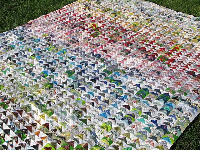 """Flying Geese Quilt Top, finished by run amok.  1792 pieces, 1.5 x 3"""" geese."""