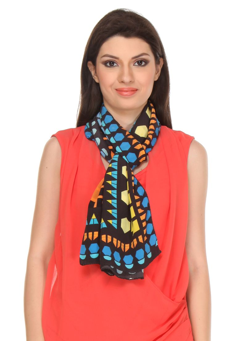 Shish work Scarf This digital printed crepe silk scarf gets its design inspiration from Shish work or the Mirror Mosaic Work popularly done on the ceilings of the royal palaces.