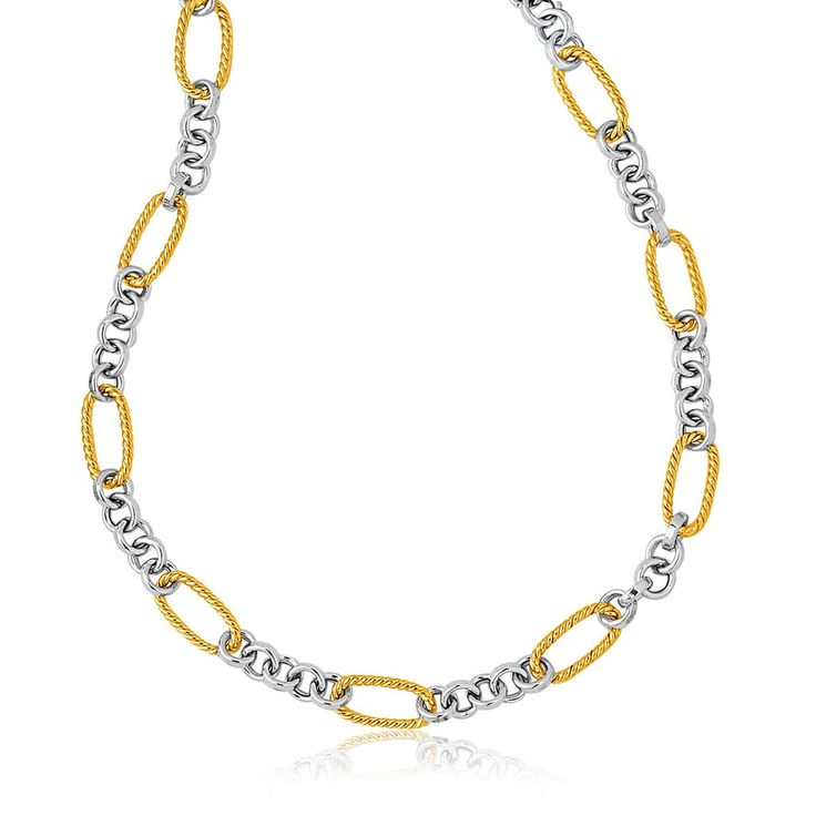 Cable Chain Inspired Round Link Necklace - 14k Two Tone Gold