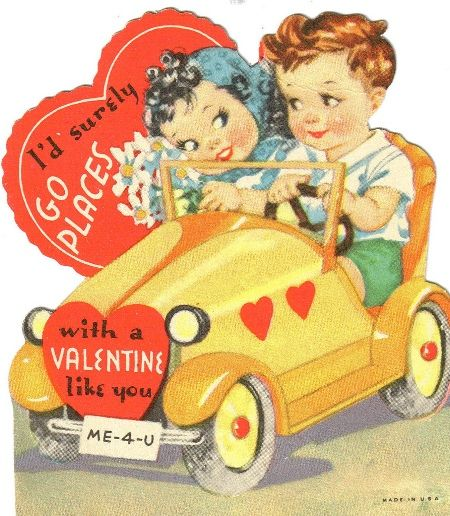 Free freebie printable retro valentine boy, girl in car automobile