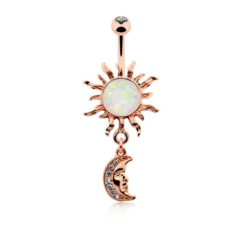 Rose Gold Opal Celestial Sun Moon Belly Button Ring 14ga Navel Ring Body Jewelry
