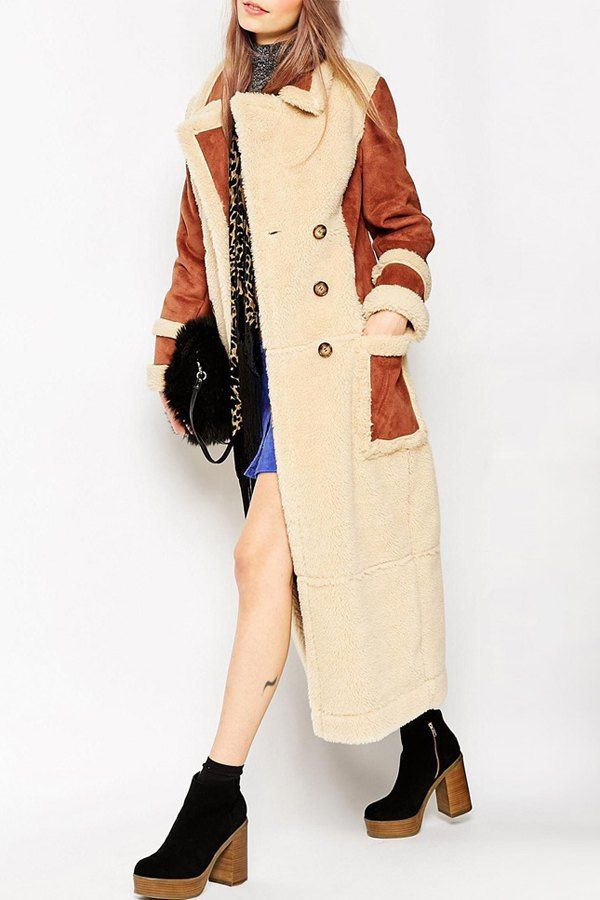 Faux Shearling Coat in Maxi Length