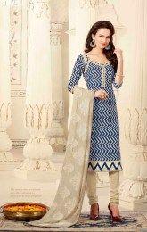 Zik Zak Pattern Work Blue Color Unstitched Straight Suit Of Chanderi Fabric