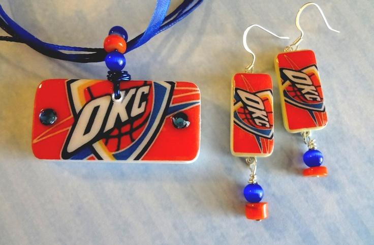 OKC Thunder Basketball Domino Pendant and Earrings Set   Upcycled Domino  Repurposed Domino T1113. $19.95, via Etsy.
