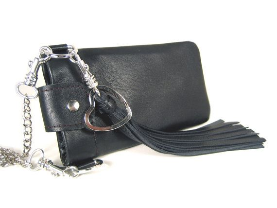 Limited Edition  Iphone case/ smartphone pocket/ cell phone pocket to measure on strings made ​​of genuine leather with tassel and neck chain with snap hook.  The chain ...